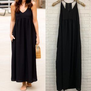 Gibson palm springs maxi dress v-neck solid black